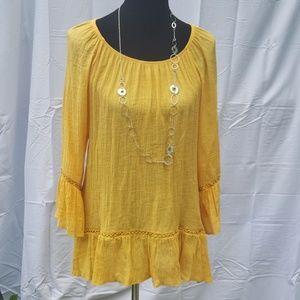 Zac & Rachel plus size golden yellow gypsy blouse